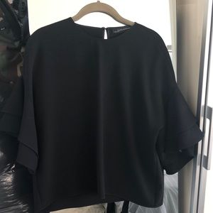 Zara silk black top